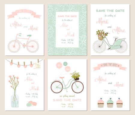 matrimonio feliz: Colecci�n de 6 tarjetas lindas. Boda, boda, ahorre la fecha, ducha beb�, nupcial, cumplea�os, d�a de San Valent�n. Dise�o simple con estilo. Ilustraci�n del vector.