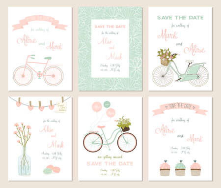 date: Collection of 6 cute card templates. Wedding, marriage, save the date, baby shower, bridal, birthday, Valentines day. Stylish simple design. Vector illustration.
