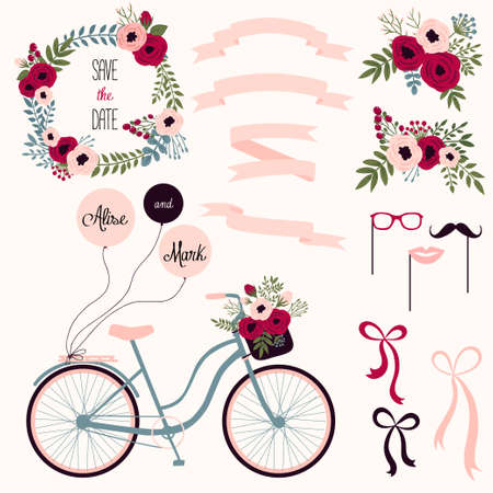 Vector wedding set with summer flowers, ribbons and bicycle. Vector illustration. Vintage collection. 矢量图像