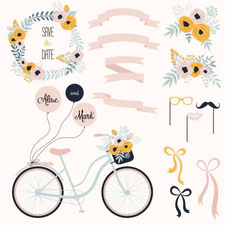 Vector bruiloft set met zomerbloemen, linten en fiets. Vector illustratie. Vintage collectie.
