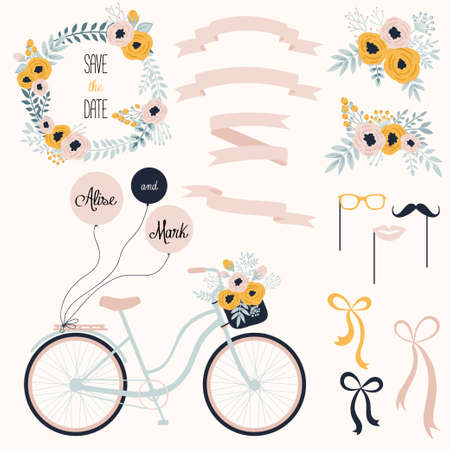 Vector wedding set with summer flowers, ribbons and bicycle. Vector illustration. Vintage collection. Иллюстрация