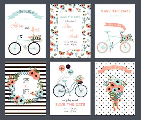 Collectie van 6 leuke sjablonen. Huwelijk, sparen de datum, baby douche, bruids, verjaardag, Valentijnsdag. Stijlvolle eenvoudig ontwerp. Vector illustratie.