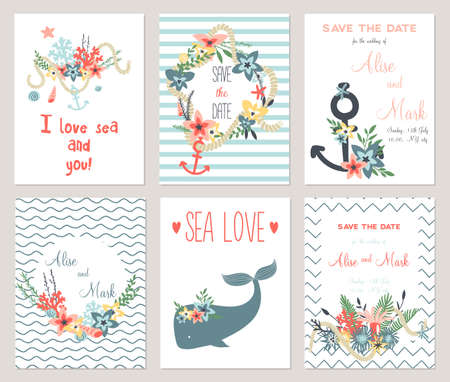 6 save the date cards template collection. Summer ocean flowers bouquets and wreath set. Nautical sea wedding elements. Wedding, marriage, bridal shower, birthday, Valentines day. Vector illustration
