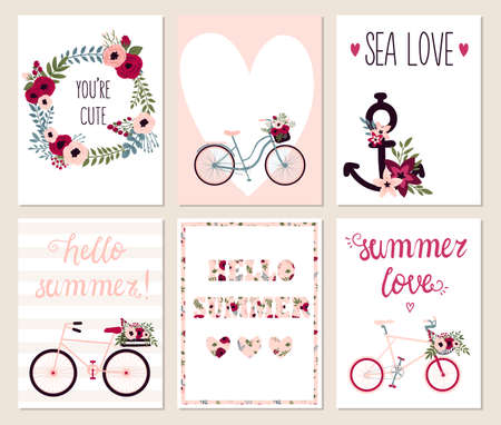 monas: Colección de 6 tarjetas lindas. Boda, boda, ahorre la fecha, ducha bebé, nupcial, cumpleaños, día de San Valentín. Diseño simple con estilo. Ilustración del vector.