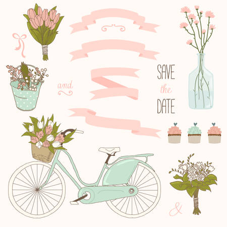 Vector wedding set with summer flowers, ribbons and bicycle. Vector illustration. Vintage collection. Vettoriali