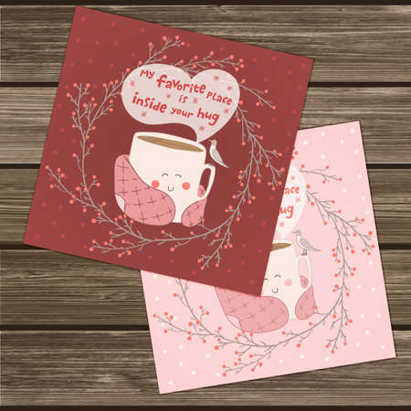 blanket: Holiday card with cute cup of tea in blanket and with seagull. Valentines day edition. Pink and marsala colors. Vector illustration. My favorite place inside your hug