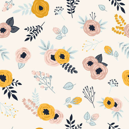 Beautiful seamless pattern with spring flowers. Bright illustration, can be used for greeting card, invitation card for wedding, wallpaper and textile.