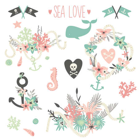 theme: Save the date collection. Summer ocean flowers bouquets and wreath set. Nautical sea wedding elements. Wedding, marriage, bridal shower, birthday, Valentines day. Vector illustration.