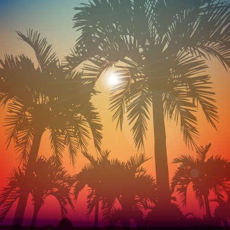 palmeras: Fondo del d�a de verano con palmera. Tel�n de fondo de medios multifuncional minimalista. Vector. Editable. Sue�os de verano Vectores