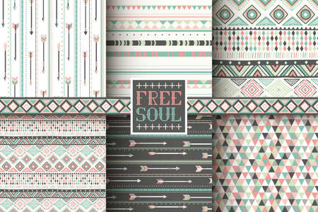 cultura maya: Conjunto de 6 patrones sin fisuras étnicas. Fondo geométrico tribal. Tela de moda con estilo. Papel pintado abstracto moderno. Ilustración del vector.
