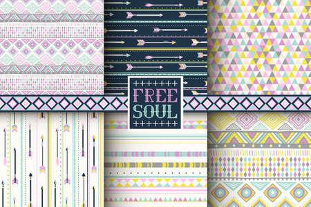 Marvelous Set Of 6 Ethnic Seamless Patterns. Tribal Geometric Background. Stylish  Trendy Fabric. Modern Nice Ideas