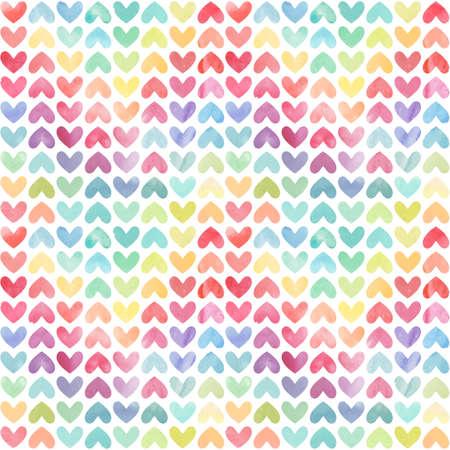 シームレスなカラフルな水彩ペイント心パターン。バレンタインデーの背景。ベクトル図  イラスト・ベクター素材