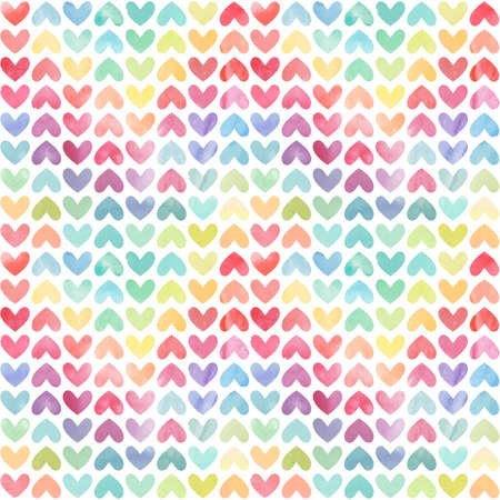 Seamless colorful watercolor painted hearts pattern. Valentines day background. Vector illustration Ilustração