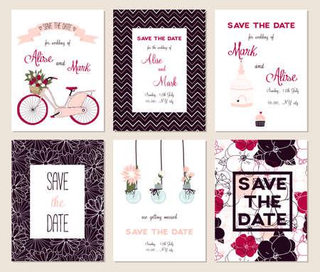 boda: Colección de 6 tarjetas lindas. Boda, boda, ahorre la fecha, ducha bebé, nupcial, cumpleaños, día de San Valentín. Diseño simple con estilo. Ilustración del vector.