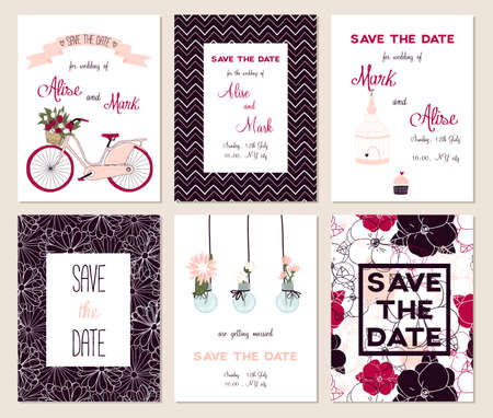 Collection of 6 cute card templates. Wedding, marriage, save the date, baby shower, bridal, birthday, Valentines day. Stylish simple design. Vector illustration.