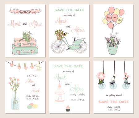 bicicleta vector: Colección de 6 tarjetas lindas. Boda, boda, ahorre la fecha, ducha bebé, nupcial, cumpleaños, día de San Valentín. Diseño simple con estilo. Ilustración del vector.