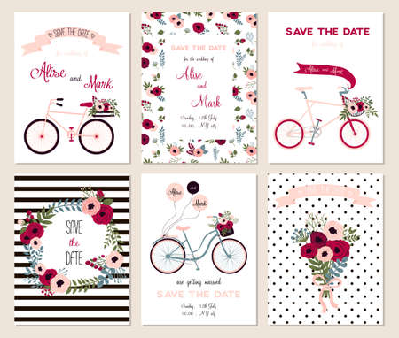 pink wedding: Collection of 6 cute card templates. Wedding, marriage, save the date, baby shower, bridal, birthday, Valentines day. Stylish simple design. Vector illustration.