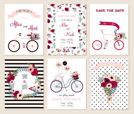 Insamling av 6 gulliga kortmallar. Gifta sig, giftermål, spara datumet, baby shower, möhippa, födelsedag, Alla hjärtans dag. Stil enkel design. Vektor illustration.