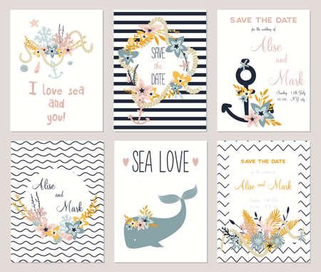 ślub: 6 prośbą o zarezerwowanie daty szablonu kolekcji. Letnie ocean Kwiaty świeże, zestaw wieniec. Nautical elementy morze ślubne. Ślub, małżeństwo, wesele prysznicem, urodziny, Walentynki. Ilustracji wektorowych Ilustracja