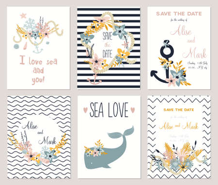theme: 6 save the date cards template collection. Summer ocean flowers bouquets and wreath set. Nautical sea wedding elements. Wedding, marriage, bridal shower, birthday, Valentines day. Vector illustration