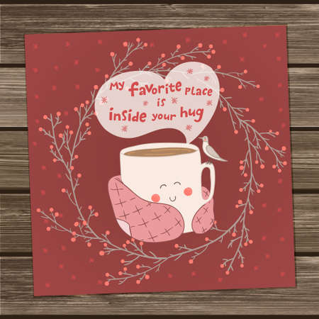 Holiday card with cute cup of tea in blanket and with seagull. Valentines day edition. Pink and marsala colors. Vector illustration. My favorite place inside your hug