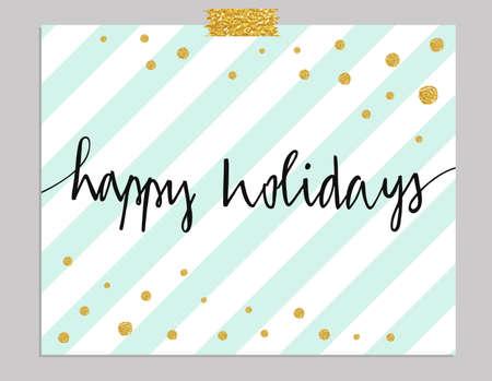 menta: Dibujado a mano la tarjeta de la tipografía. Buenas fiestas saludos mano-deletreado aislados sobre fondo de rayas menta con los puntos de oro.