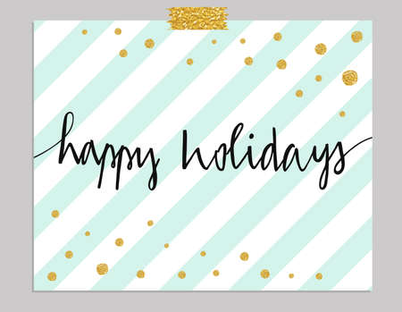 gold: Hand drawn typography card. Happy Holidays greetings hand-lettering isolated on mint striped background with gold dots.