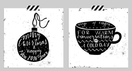 merry mood: Hand drawn typography card. Merry christmas and happy new year greetings hand-lettering isolated card set in black and white colors.  Illustration