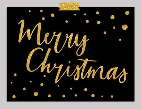 confetti background: Merry Christmas - gold glittering lettering design with confetti pattern Illustration