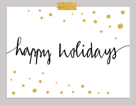 Hand drawn typography card. Happy Holidays greetings hand-lettering isolated on mint striped background with gold dots. Vector illustration.