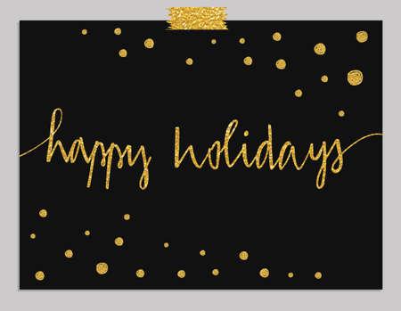 Handritad typografi kort. Lyckliga ferier hälsningar hand bokstäver isolerade på mynta randig bakgrund med guld prickar. Illustration