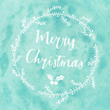 merry mood: Hand drawn typography card. Merry christmas greetings hand-lettering on watercolor blue background.
