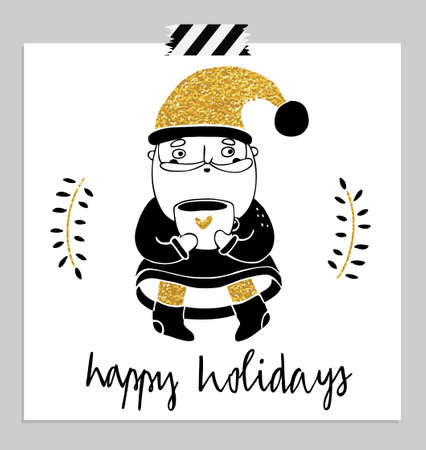 merry mood: Hand drawn cute santa with cup of hot tea. Merry christmas and happy new year greetings hand-lettering isolated card in black, red and white colors. Vector illustration.