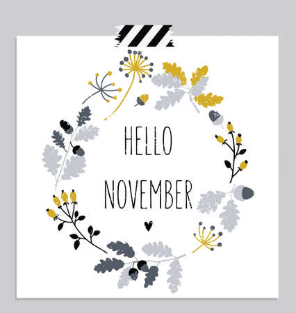 Hello november! Autumn leaves round frame. Wreath of autumn leaves. November card. Vector illustration.  イラスト・ベクター素材