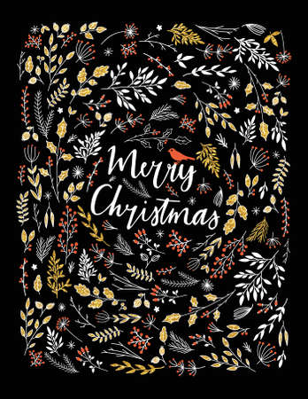 Merry Christmas vector greetings illustration. Colorful leaf and herb design, Happy new year card frame. 2016 seasonal greeting