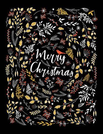 dekoration: Frohe Weihnachten Vector-Gruß-Illustration. Bunte Blätter und Kräuter-Design, Happy New Year Card Frame. 2016 Saisongruß