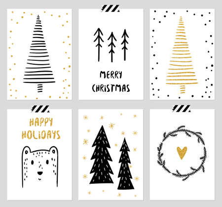 Christmas and New Years 6 Cards Collection. Set of Winter Holiday card templates.