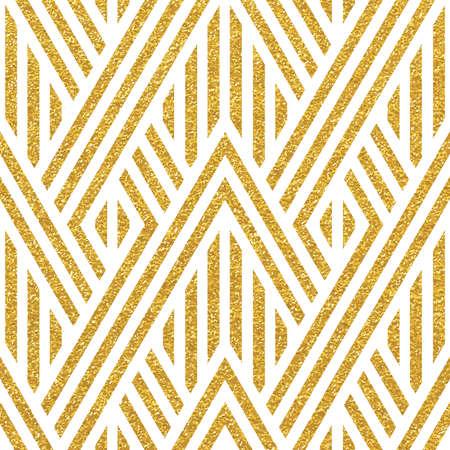 幾何学的なストライプの飾り。ベクトル ゴールド シームレス パターン。スタイリッシュでモダンな生地です。ゴールドの線形ひも。トレンディな