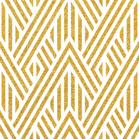 Geometric striped ornament. Vector gold seamless patterns. Modern stylish texture. Gold linear braids. Trendy gold glitter texture Ilustração