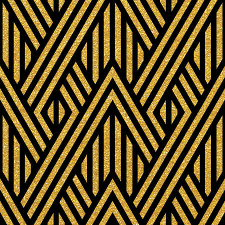 Geometric striped ornament. Vector gold seamless patterns. Modern stylish texture. Gold linear braids. Trendy gold glitter texture 矢量图像
