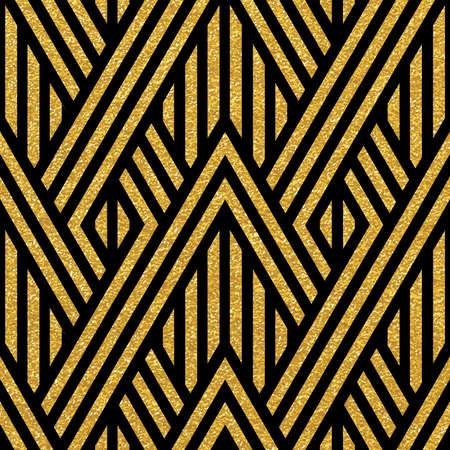 Geometric striped ornament. Vector gold seamless patterns. Modern stylish texture. Gold linear braids. Trendy gold glitter texture Illustration