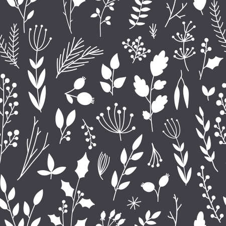 nature vector: Vector seamless pattern, floral texture with hand drawn flowers and plants. Floral ornament. Original floral background.