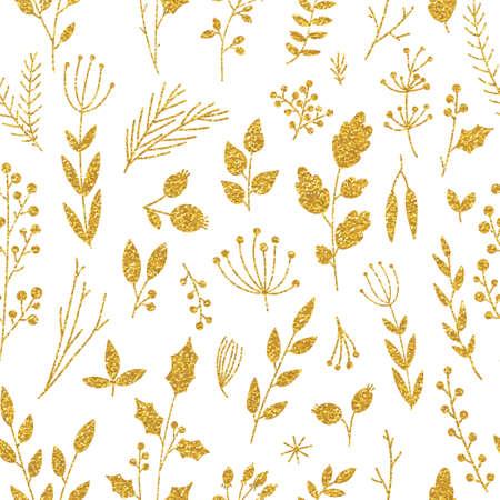feuilles arbres: Vecteur or modèle, texture floral avec des fleurs et des plantes dessinés à la main. Ornement floral. Origine seamless floral sur fond noir. Trendy paillettes or texture