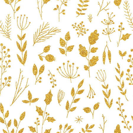 leave: Vector gold pattern, floral texture with hand drawn flowers and plants. Floral ornament. Original floral seamless pattern on black background. Trendy gold glitter texture