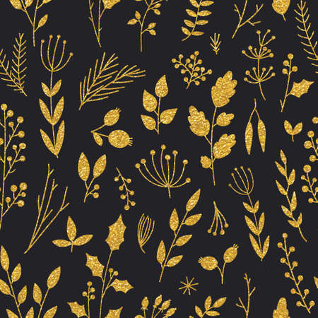 Vector gold pattern, floral texture with hand drawn flowers and plants. Floral ornament. Original floral seamless pattern on black background. Trendy gold glitter texture