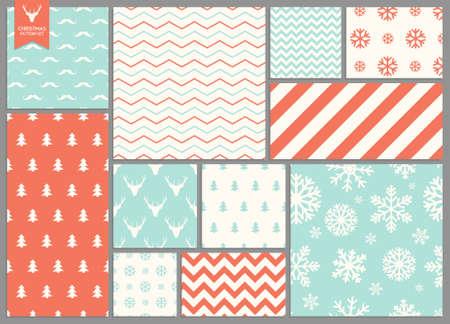 簡単なシームレスなレトロなクリスマス パターンのセット