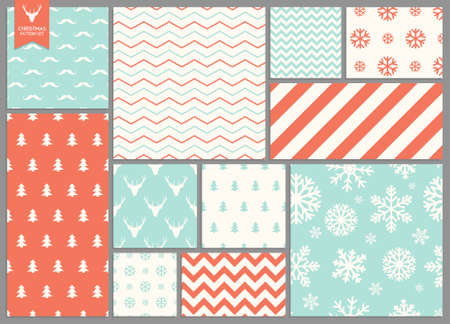 christmas tree set: Set of simple seamless retro Christmas patterns