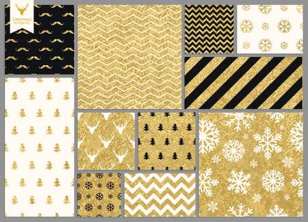 arboles blanco y negro: Conjunto de sencilla sin fisuras textura retro oro patrones de Navidad