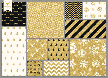 gold fabric: Set of simple seamless retro gold texture Christmas patterns