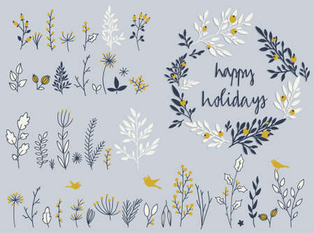 wedding  art: Holiday set of hand-drawn flowers and herbs in vector. Collection of wreath, garland of flowers.